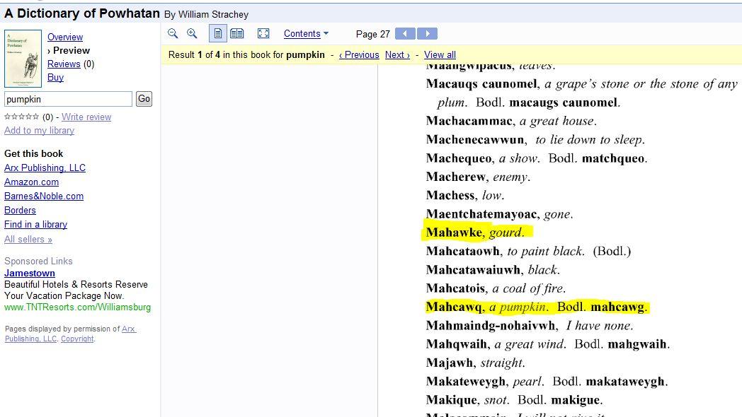 Mahockney is an Indian word…   Mahockney Plantation