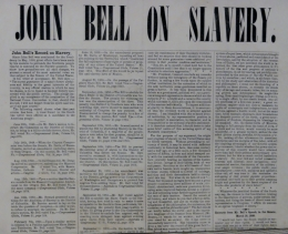 john bell 1860 campaign broadside on slavery