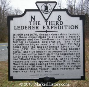 1670-08-20-third-lederer-expedition-historic-marker